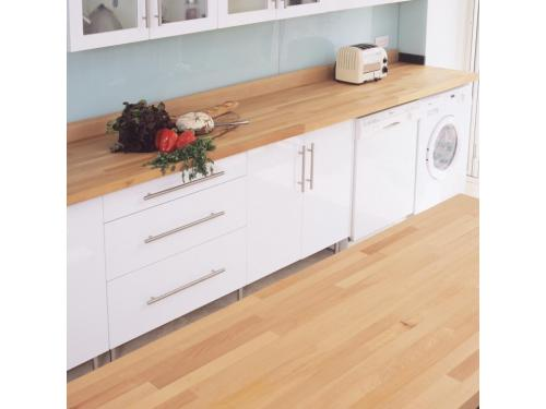 Kitchen worktop and flooring by The Natural wood Floor Company