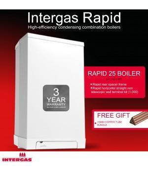 Intergas Rapid  The Intergas Rapid combi boiler: smart in every sense Combining high efficiency in both hot water and central heating modes, the Rapid retains all the benefits of Intergas' revolutionary condensing boiler technology. It's available in two