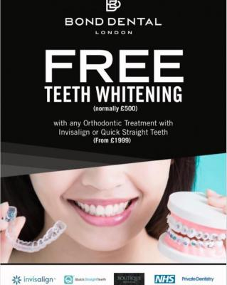 Free Teeth Whitening with Any Orthodontic Treatment like Invisalign or Quick Straight Teeth.